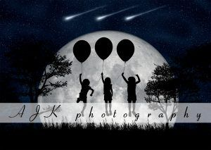 girls floating in moon composite