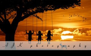 triplets on swing in sunset composite